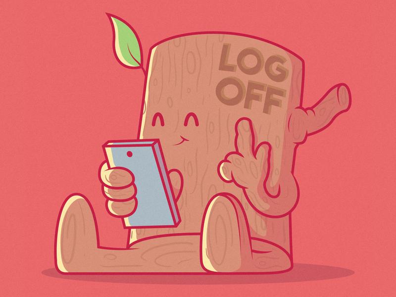 LOG OFF art ui branding logo illustration inspiration graphic design character vector