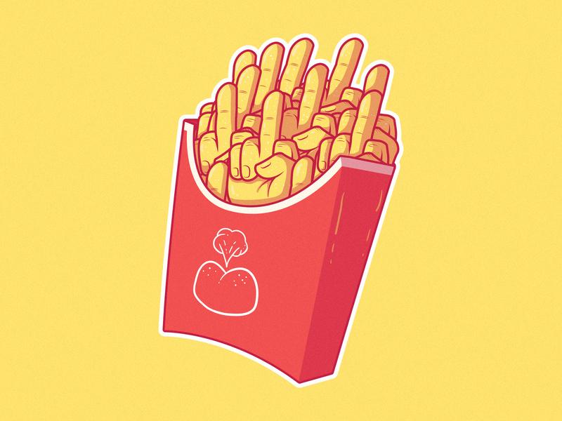 THE FINGER FRIES logo illustration sketch funny fast food food sticker mule sticker design stickermule sticker graphic design colors vector