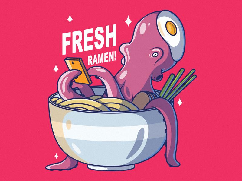 Fresh Ramen poster branding logo illustration inspiration graphic design colors character vector