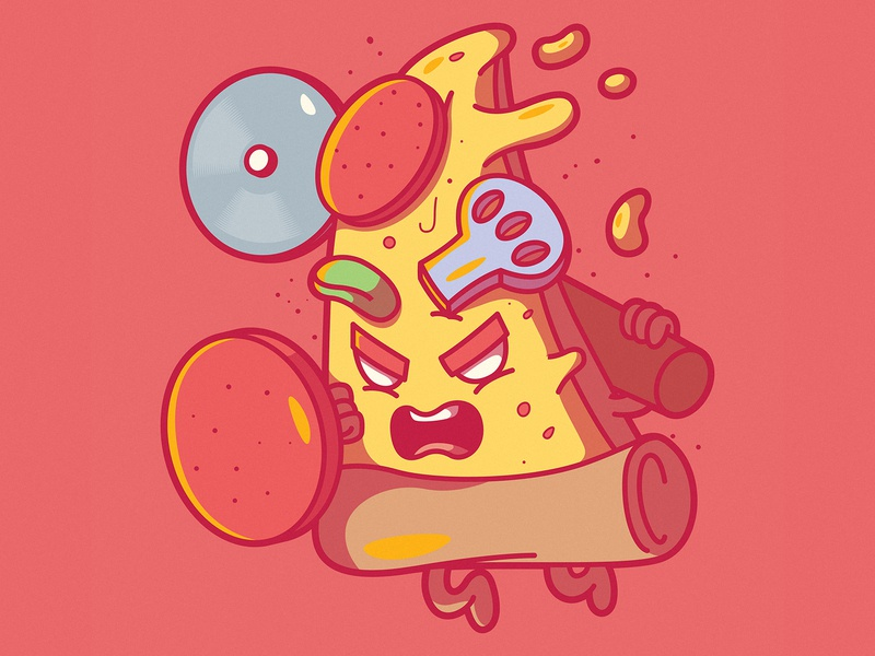 Pizza Warrior food app fast food flyer logo brand food and drink cool funny menu foodie character fast food food