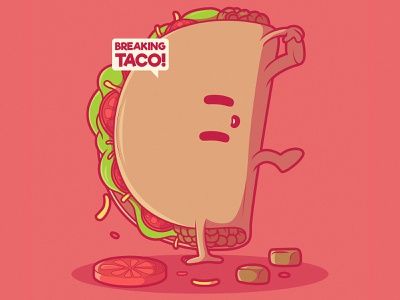 Breaking Taco vegetables artwork inspiration imagination symbol icon app marketing brand funny character design tuesday taco food vector illustration fast food character vector