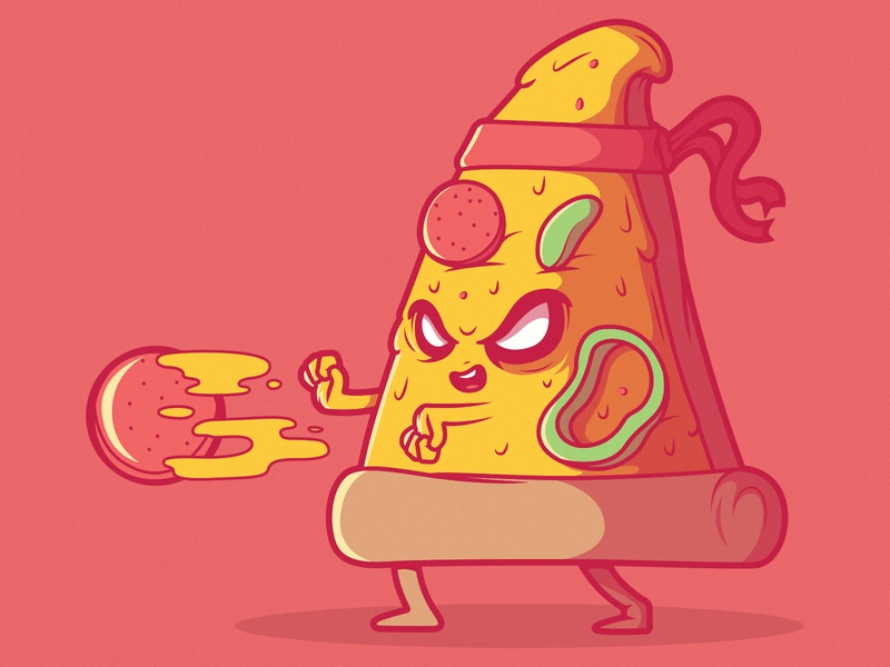 Power Pizza food app brand pizza logo artwork vector inspiration funny illustration character game app video games power pizza food