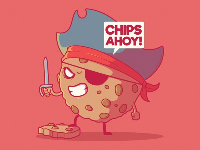 Chips Ahoy! inspiration illustration branding logo vector graphic food app imagination funny design game pirate food character