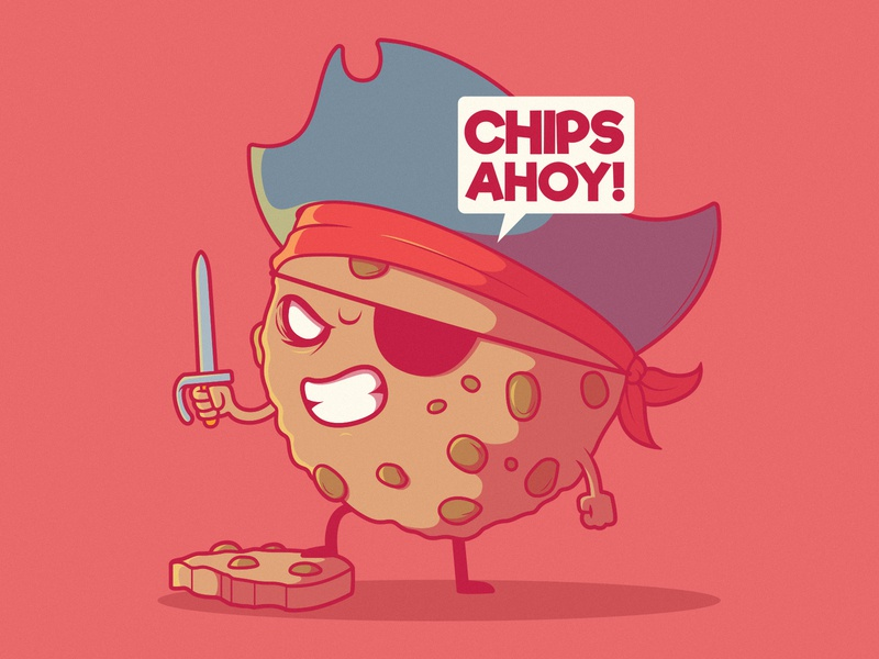 Chips Ahoy! inspiration illustration branding logo vector graphic food app imagination funny design game pirate food character