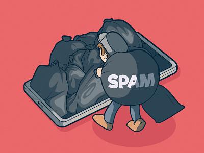 Full of Spam! cool graphic art design illustration logo inspiration brand tech app spam character vector