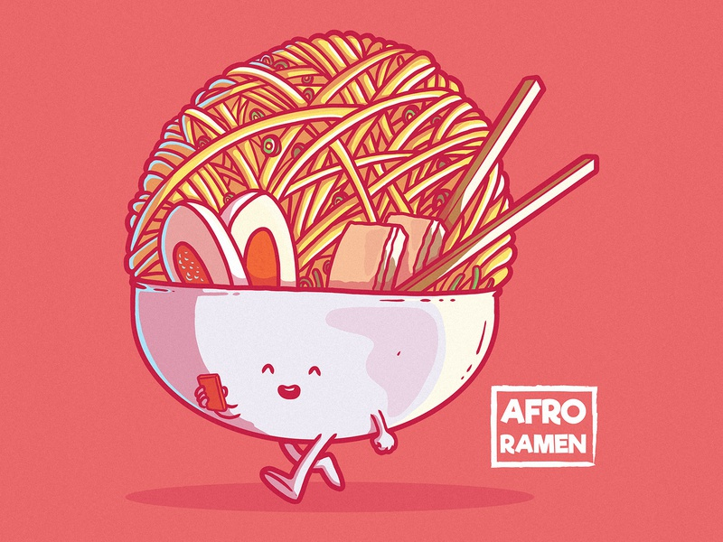 AFRO RAMEN character design branding logo illustration cool inspiration graphic food illustration symbol icon food and drink funny vector design character food