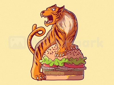 TIGER BURGER illustration draw poster inspiration graphic shirt character food and drink tiger burger food vector
