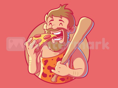 CAVEMAN PIZZA food app food and drink pizza food funny logo illustration inspiration graphic design character vector