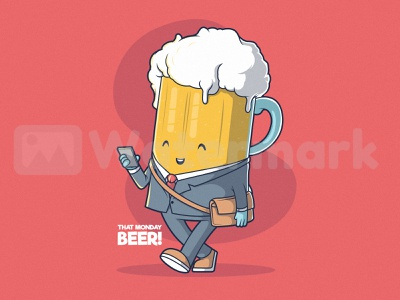 Monday Beer drawing concept colors food and drink drink draw inspiration design logo illustration graphic character vector