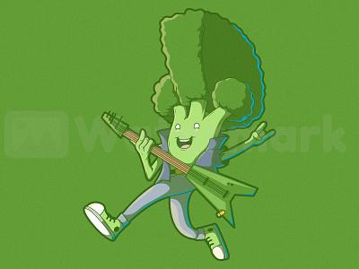 Punk Broccoli branding logo illustration art design graphic vector illustration food veggie colors character vector