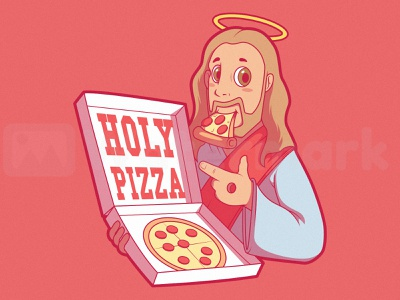 HOLY PIZZA pizza food and drink art shirt design illustration funny graphic logo food colors character vector