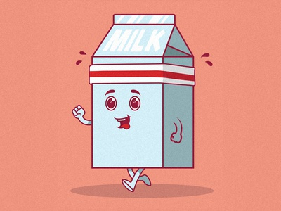 Milk Running character design design graphic draw colors graphicdesign vector logo funny work inspiration character