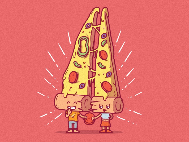 Share a Slice animation web icon cartoon style food art poster branding logo illustration work comics cool inspiration graphic design colors character vector