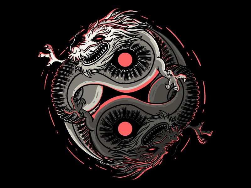 Double Dragon animal icon branding cartoon logo style illustration tee work comics cool inspiration poster art graphic shirt design colors character vector