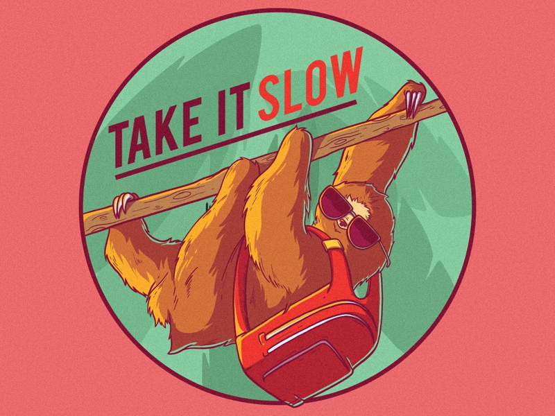 Take It Slow animal icon branding cartoon logo style tee work comics cool poster inspiration funny graphic shirt design colors character vector illustration