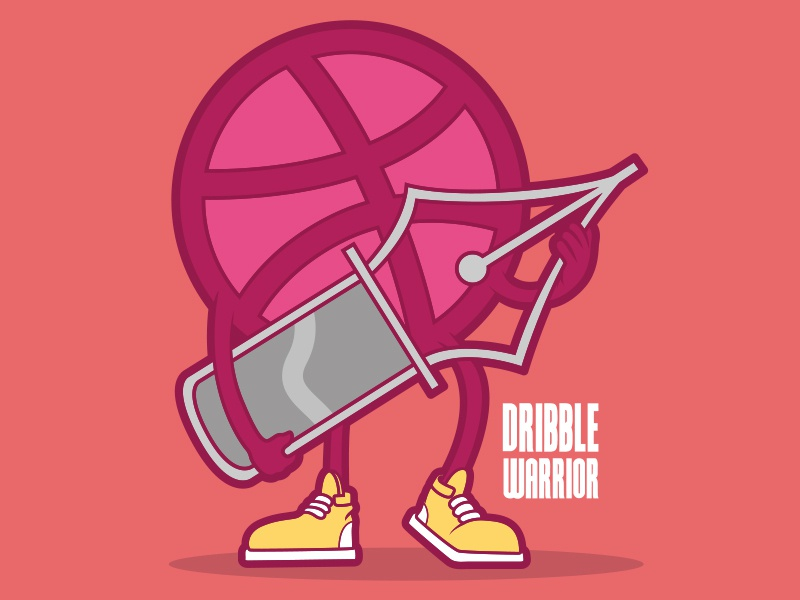 Dribble Warrior icon colors cartoon style comics lettering cool art funny branding logo illustration inspiration poster graphic design dribbble character vector