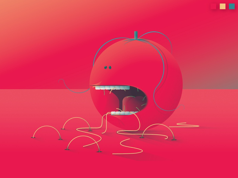 Colorstrations: Tomato shapes colorstration creamsicle blue cheese tomato color texture blends illustration