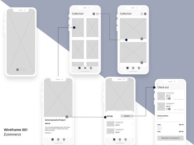 Product Collection Ecommerce Wireframes ecommerce design iphone x app design layoutdesign mobile app app flows wireframe design wireframe ios
