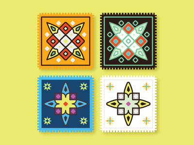 Stamp collection ui outline icons icon geometric vector simple flat illustration