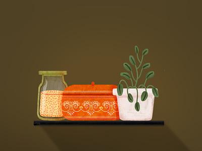 Cozy Kitchen Stuff kitchenware vintage illustraion digitalart editorial illustration