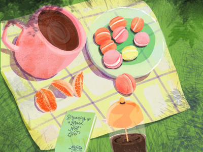 Tangerine coffee and dreaming up a new life flow mindfulness ritual digital illustration editorial
