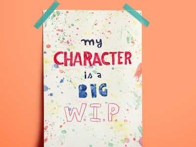 My character is a big WIP quote quote lettering handlettering illustration