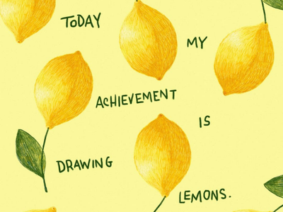 Achievement is: lemon food illustrator illustration pattern