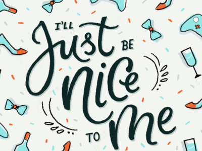 Be Nice To Yourself hand lettering shopping affirmation