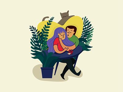 Love flat vector editorial illustration