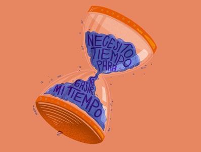 TIME sand clock sand orange clock lettering type procreate illustration