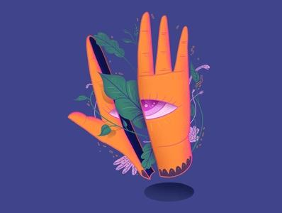 life design illustrator eye pruple orange snake plant leaves procreate hand