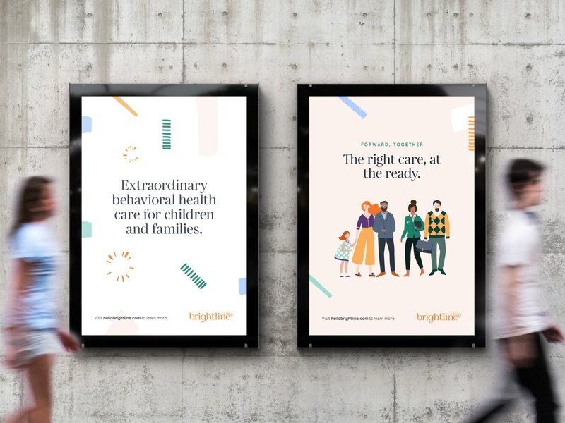 Brightline Brand Identity: Ads poster ad bright healthcare behavioral health mental health awareness children mental health identity design branding studio brandidentity design branddesign logo identity c42d branding brand identity
