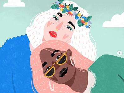 Gal Pals sunglasses flower crown friends girlfriends character sofia drogoudi women illustration women empowerment woman portrait womenpower procreate illustration