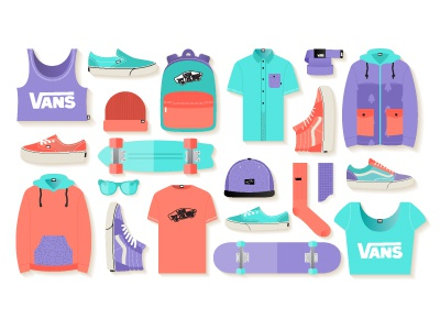 Vans. Free Illustration Kit illustration accessories clothing color flat design icon shoes shop skate street style vans environment