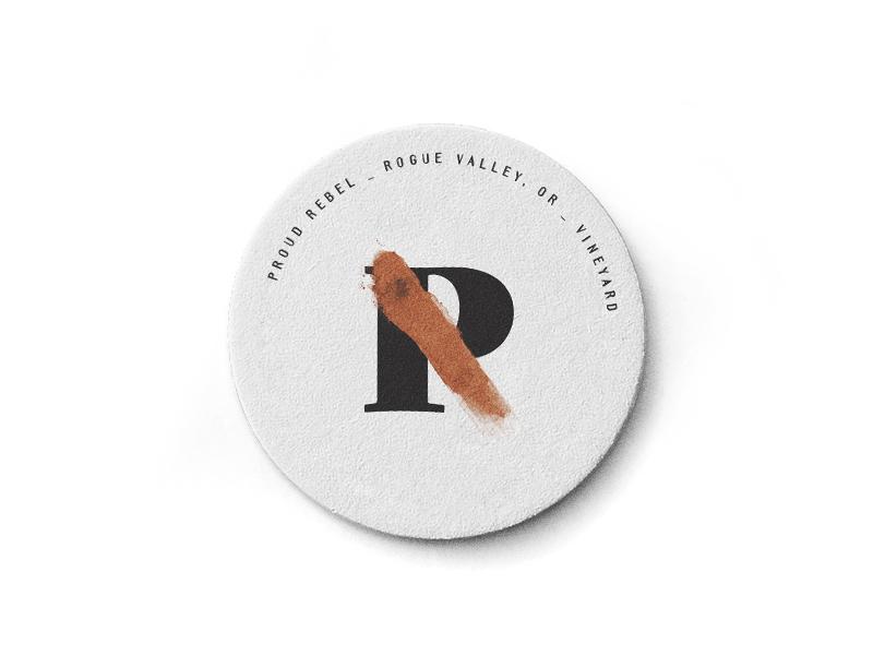 Proud Rebel Coaster identity collateral mockup badge branding letters typography lockup illustrator logo pitu