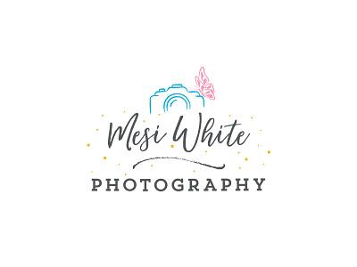 Mesi White Photography Logo butterfly playful calligraphic baby wedding light gray photography logo
