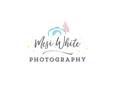 Mesi White Photography Logo butterfly playful calligraphic baby wedding light gray photography logo