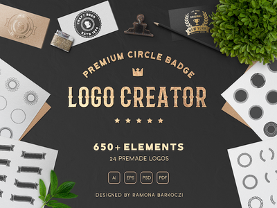 Premium Circle Badge Creator brand vector template creative market bundle typography vintage circle logo badge