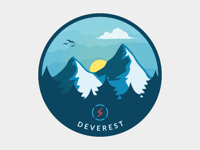 Deverest Sticker – Blue Version snow sky birds sun cloud developing pine blue mountain illustration sticker badge