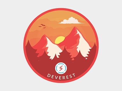 Deverest Sticker- Red Version snow sky birds sun cloud developing pine red mountain illustration sticker badge