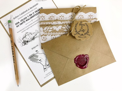 Our Wedding Invitation craft paper wax seal lace wedding invitation