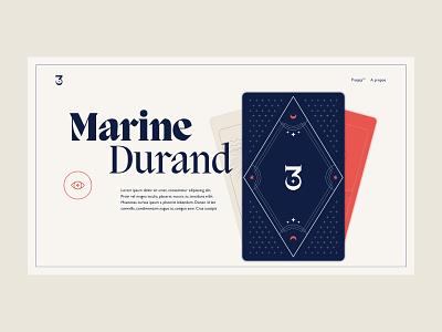 Marine Durand portfolio - Homepage motion animation card tarot card tarot portfolio design art direction typography portfolio layout homepage website clean design minimal webdesign ux ui