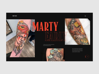 Marty Early - Home tattoo artist animal uiux ux design ui design red black tattoo animation motion art direction homepage layout website clean design minimal webdesign ux ui
