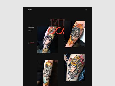 Marty Early - Tattoos page black red black white uiux uxdesign ui design typogaphy tattoo artist tattoo animation layout art direction motion website clean design minimal webdesign ux ui