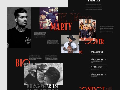 Marty Early - About page about page animation uiux ux design uidesign black red tattoo artist tattoo typography layout art direction motion website clean design minimal webdesign ux ui