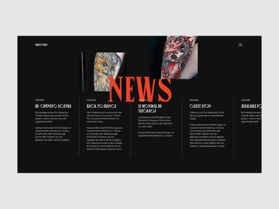 Marty Early - News page ui design tattoo art horizontal scroll news page tattoo artist tattoo black  white red black typography layout art direction motion website clean design minimal webdesign ux ui