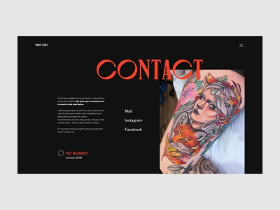 Marty Early - Contact page contact page ux design ui design typography red black tattoo artist tattoo animation layout art direction motion website clean design minimal webdesign ux ui