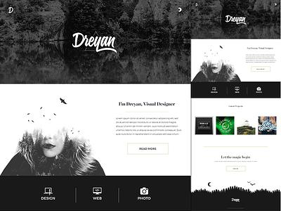 Dreyan Homepage website personnal homepage white black minimal