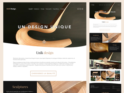 Unik Design one page wood simple clean ux ui interior web design