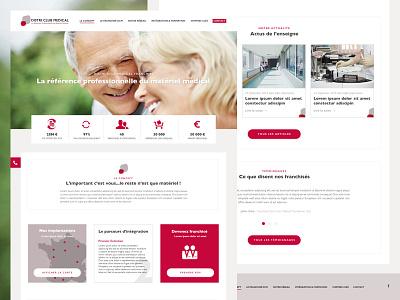 DCM homepage web white red ux ui webdesign medical